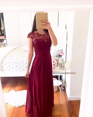 Ever-pretty Formal Evening Dresses Long Lace Burgundy Bridesmaid Ball Gown 09993