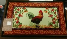 "RARE PRINTED KITCHEN RUG (non skid latex back) (18"" x 28""), ROOSTER & FLOWERS"