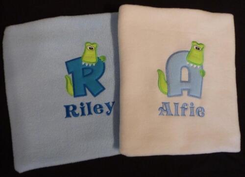 Personalised Alphabet Crocodile Croc Baby Boy Blanket Cot Pram White Cream Blue