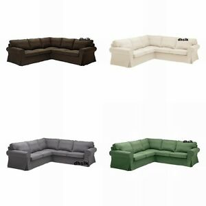 IKEA-EKTORP-Corner-Sofa-SLIPCOVER-2-2-Cover-SVANBY-GRAY-BROWN-BEIGE-GREEN-Linen