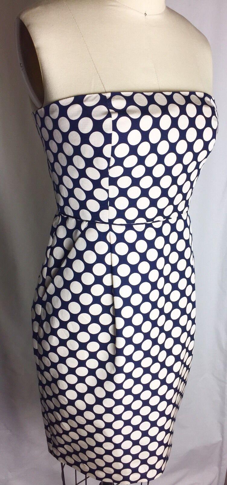NWT J CREW Silk Cream Navy Polka Dot Strapless Dress Size 4