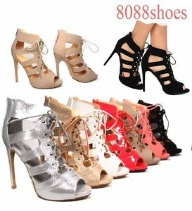 Women-039-s-Fashion-Lace-Up-Open-Toe-Pointed-Toe-Heels-Sandal-Shoes-Size-5-11-NEW