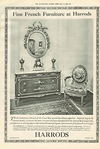 1919 ANTIQUE PRINT ADVERTHARRODSFINE FRENCH FURNITURE - Holmfirth, United Kingdom - Returns accepted Most purchases from business sellers are protected by the Consumer Contract Regulations 2013 which give you the right to cancel the purchase within 14 days after the day you receive the item. Find out more abou - Holmfirth, United Kingdom