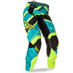 FLY KINETIC ladies motocross pants size 3/4, teal/hi-vis 369-63805