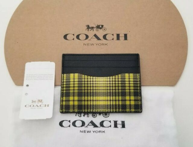 """Coach Mens ID Wallet Card Case Slim Front Pocket Style Neon Yellow Plaid 4/"""" x 3/"""""""