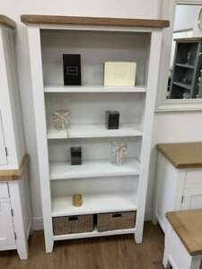 Canterbury White Large Narrow Bookcase