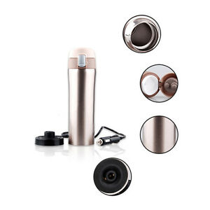 12V-Heated-Travel-Car-Auto-Stainless-Steel-Thermos-Coffee-Tea-Cup-Mug-Bottle-New