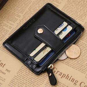 6af63570bd2a7a Men Women Leather Zip Credit Card Holder Money Clip Coin Purse ...
