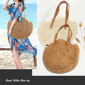 Women-Shoulder-Bag-Handbag-Summer-Beach-Straw-Woven-Rattan-Holiday-Purse-Round
