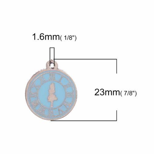 Alice In Wonderland 23mm Blue Enamel Clock Charm Pendants C1720-2 5 Or 10PCs
