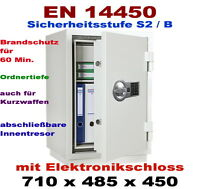 Wertschutzschrank,Safe-Tresor mit ELO Feuerschutz 60 Min  EN-14450 in S2,Stufe B