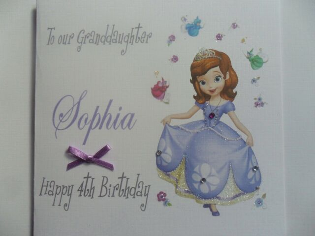HANDMADE PERSONALISED DISNEY PRINCESS SOPHIA THE 1ST BIRTHDAY CARD ANY NAMEAGE