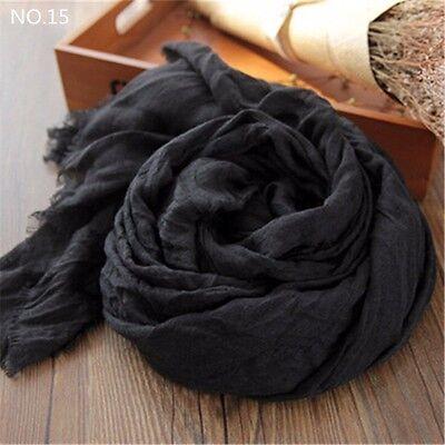 20 Colors Lady Girls Cotton Linen Super Big Long Crinkle Shawl Scarf 200*160 cm