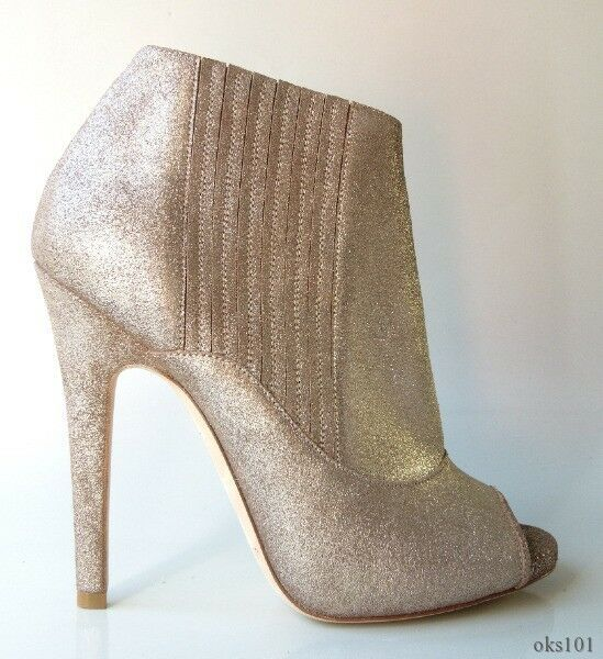 new $995 JIMMY CHOO Bolt metallic leather leather metallic BOOTIES ankle Stiefel shoes 37.5 7.5 HOT e72420