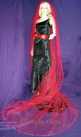 Wedding Veil Cathedral Gothic Red Black 108 Width108 Length Satin Ribbon Edge