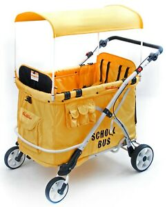 Wonderfold-Wagon-MJ06-Multi-Purpose-Folding-Kids-School-Bus-Quad-Stroller-Yellow