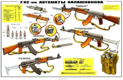 3 Poster Collection Kalashnikov 7.62x39 Soviet Russian COLOR BUY IT AKM AK-47