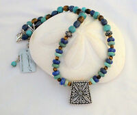 Samuel B Turquoise Lapis Tigers Eye Floral Sterling Silver 18 +2 Necklace