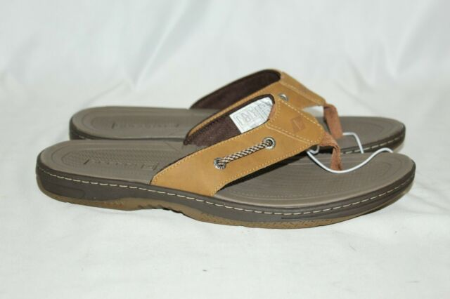 NEW Men's Sperry Pensacola II Top-Sider Thong Flip Flops Sandals Tan Size 11