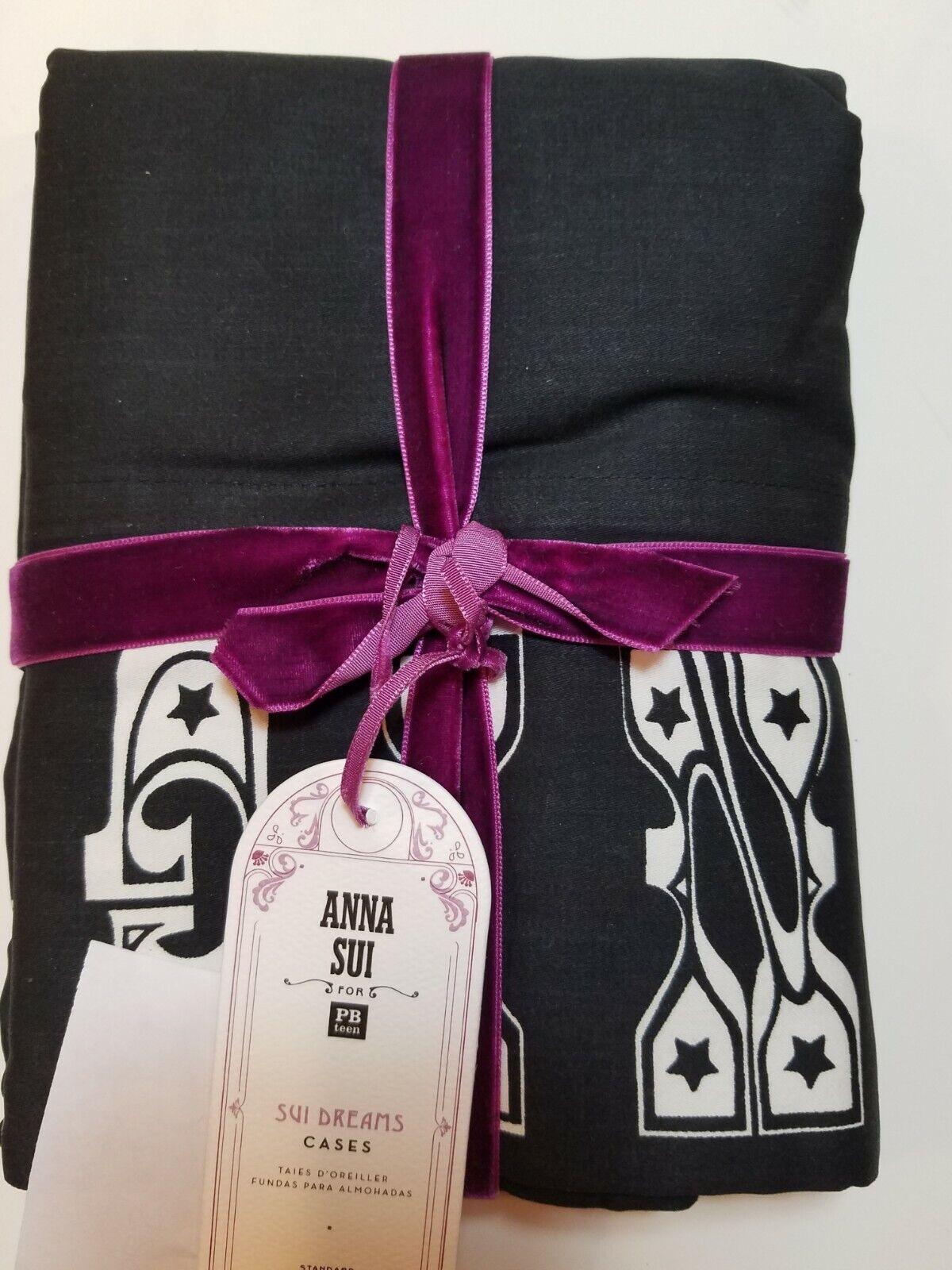 POTTERY BARN Teen Anna Sui Dreams Noir taies d'oreiller standard S 2  2628