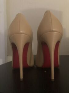f0c0c7a8427 Details about Christian Louboutin BRECHE Pointy Toe Pump 100mm Nude Leather  39.5