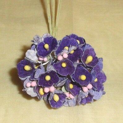 Vintage style PURPLE flocked Parchment FORGET ME NOT floral bunch Dolls /& Craft