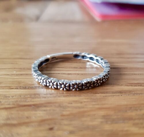 Details about  /925 Sterling Silver Multi DAISY Chain Stacking Ring 2mm Band Thumb Choose Size