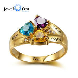 82e9516f110c7 Details about 18K Gold Plated Personalised 3 Birthstones Jewelry 3 Names  Rings Gift For Mother