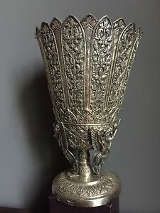 Grande-Coupe-Vase-Argent-Massif-800-Solid-Silver-Cambodge-358g