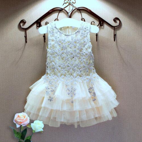 FREE Headband Sunny Girls Lace Tutu Dress Birthday Party Wedding Bridesmaid 1-5Y