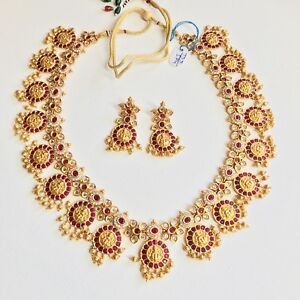 632d40e266 Details about Indian Antique Style Grand Temple Gold Plated Red/white stone  necklace Jewel Set