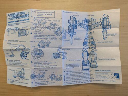 Vintage 1984 G1 Transformers Devastator Instructions Original Constructicon