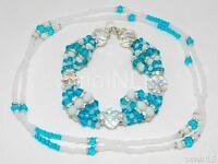 Ilde Santeria Orisha Bracelet & Collar Idde Mazo Yemaya Konla Glass & Coral Ifa