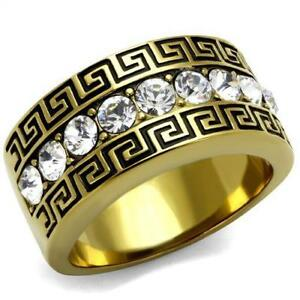 Men-Stainless-Steel-Top-Grade-Crystal-Cocktail-Yellow-Gold-IP-Ring-8-13-TK2310