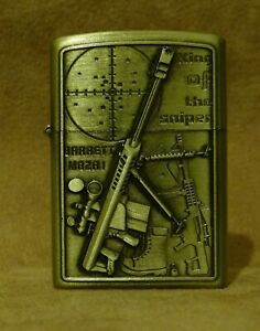Petrol lighter with small arms. Relief image. Different models.