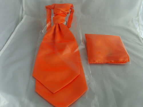 More U Buy/>More U Save NEON Orange MENS Wedding Ruche Tie-Cravat and Hankie Set