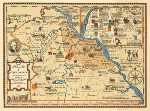 Pennsylvania Wall Art Poster Vintage Historical Pictorial Map of York County
