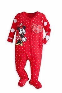 fcda051f2 NWT Disney Store Minnie Mouse Sleeper Red Polka Dot Hearts Organic ...