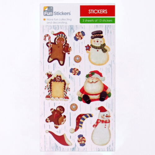 Fun Stickers Christmas Kids Party Bag Fillers 6 Sheets Christmas Candy Craft ...