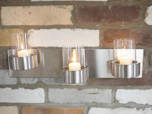 Tea Light Wall Mounted appliques en acier brossé 3 Bougeoir Mur Art votive nouveau