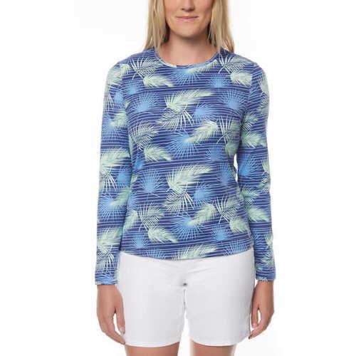 NWT Hang Ten Women/'s LARGE Rash Guard Sun Shirt Tee Blue Palm UPF 50 Long Sleeve