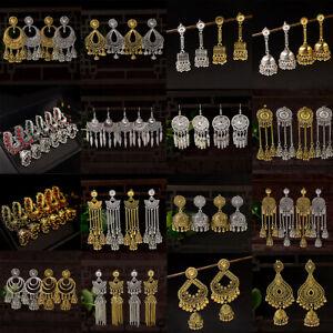 Retro-Fashion-Women-Carved-Peacock-Long-Tassel-Drop-Bells-Dangle-Jhumka-Earrings