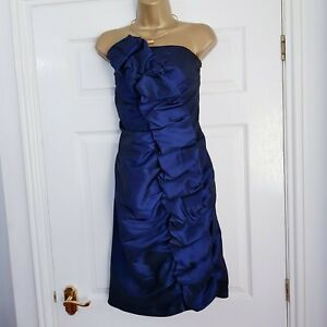JOSEPH-RIBKOFF-Blue-Strapless-Ruched-Evening-Dress-Occasion-Wedding-Party-14