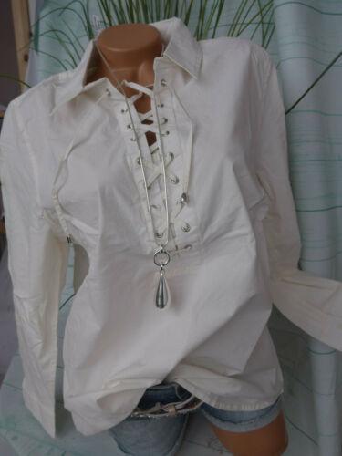 690 Paola Chemisier shirt T 44 à 54 grande taille crème blanc avec lacets