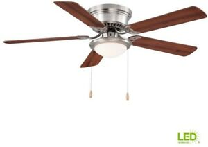 Ceiling Fan Light Led 52 In 3 Speeds 5 Blades Indoor Flush Mount Brushed Nickel Ebay