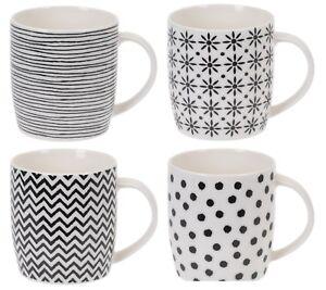 Siaki-Set-of-4-Mugs-New-Bone-China-Lines-Stripes-Spot-Lovely-Cocoa-Coffee-Mug