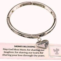 Mom's Blessing Heart Charm Stretch Silvertone Bracelet-bookmark Included