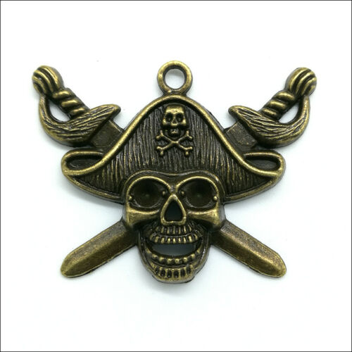 Lot 30pcs Pirate Skull Antique Silver Bronze Charms Pendants For Jewelry Making