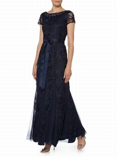 Adrianna Papell Lace Gown With Tulle Inserts Navy Size UK10 rrp  DH089 KK 09