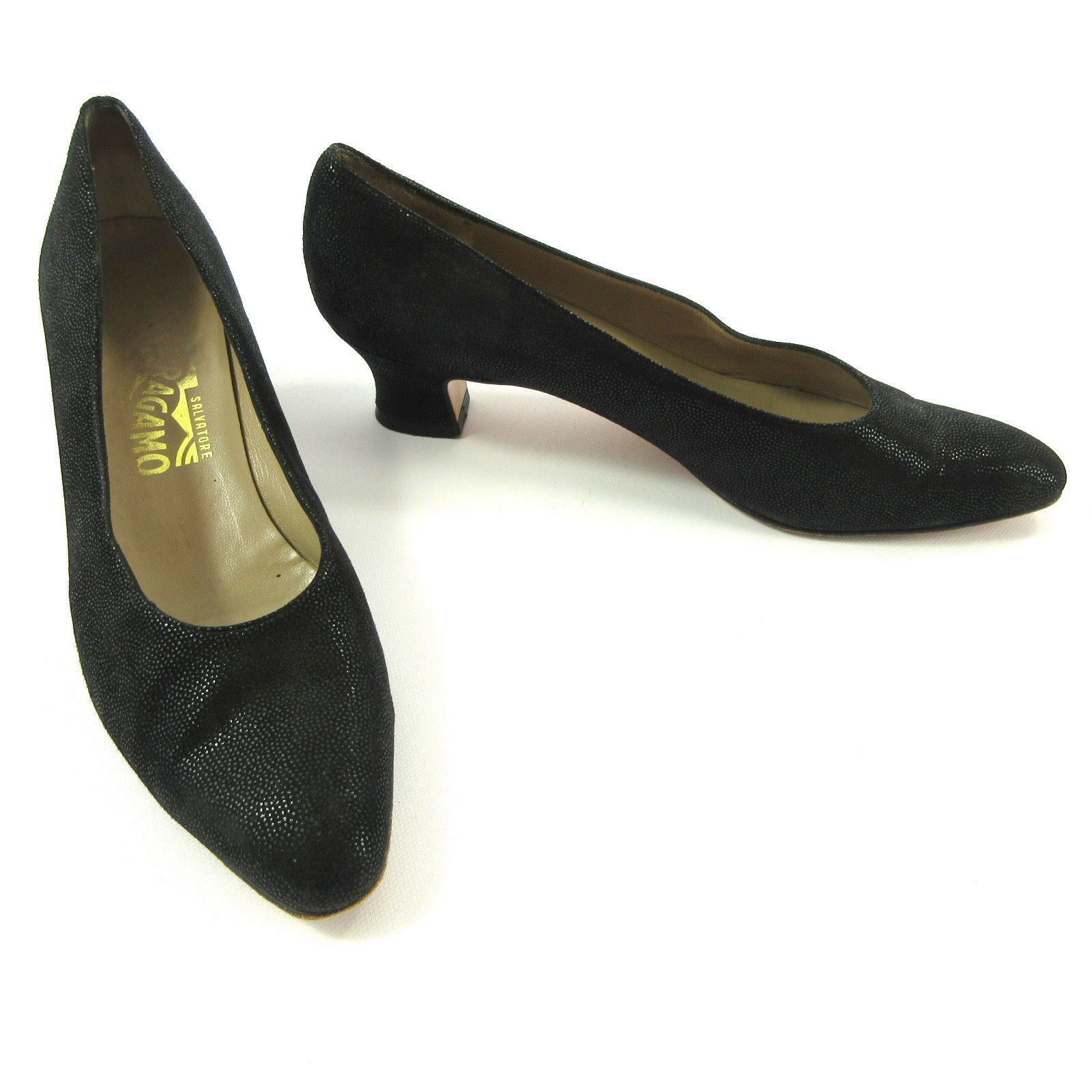 Salvatore Ferragamo Shoes Women 9 AAA Black Suede Shimmer Textured Heels Heels Textured Pumps 1a5f31